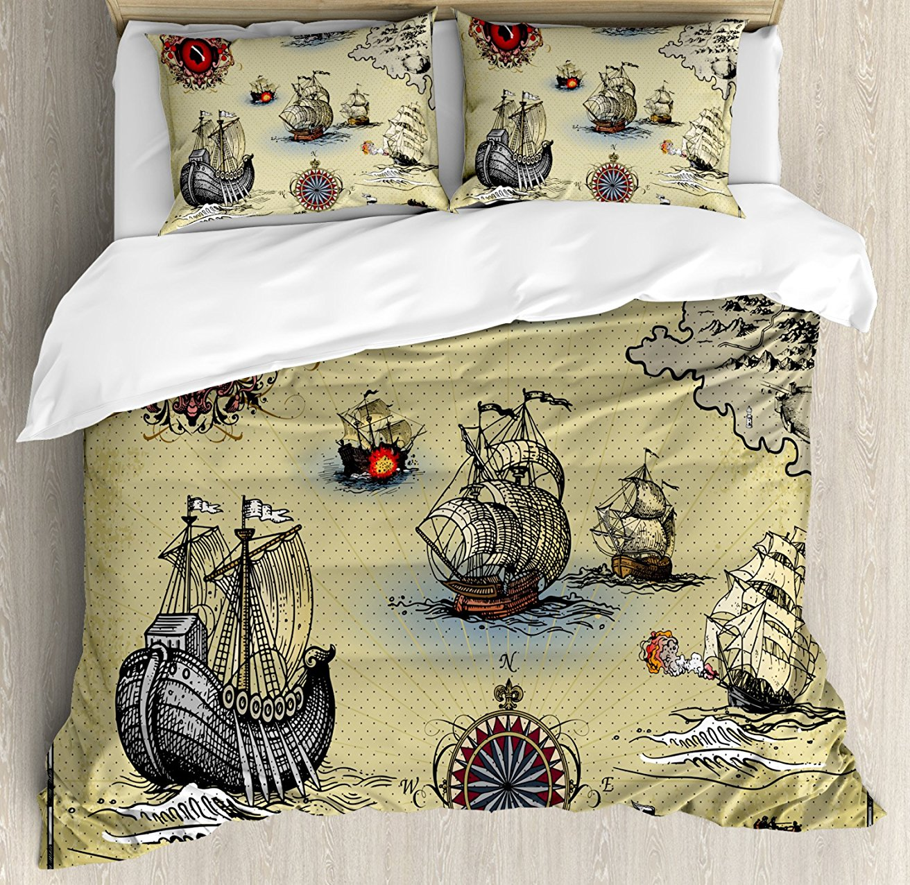 Compass Duvet Cover Set Antique Old Plan Discovery Ship Pirate Wave Compass Navigation Geography Theme 4 Piece Bedding SetCompass Duvet Cover Set Antique Old Plan Discovery Ship Pirate Wave Compass Navigation Geography Theme 4 Piece Bedding Set