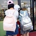Chegada nova Holograma Laser Backpack School Girl Bag Mulheres Rosa E Branco Simples Prata Metálico Laser Holográfico Mochila X863B