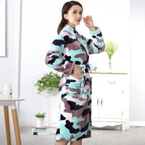 Image 4 - Winter Womens Mini Kimono Robe Fashion Autumn Lady Flannel Bath Gown Yukata Nightgown Sleepwear Sleepshirts One Size