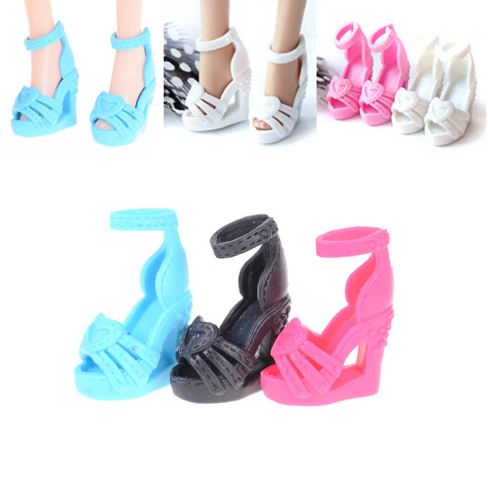 1Pair Quality Shoes Colorful High Heel Sandals For Doll Clothes Dress DIY Accessories Kids Gift Toys