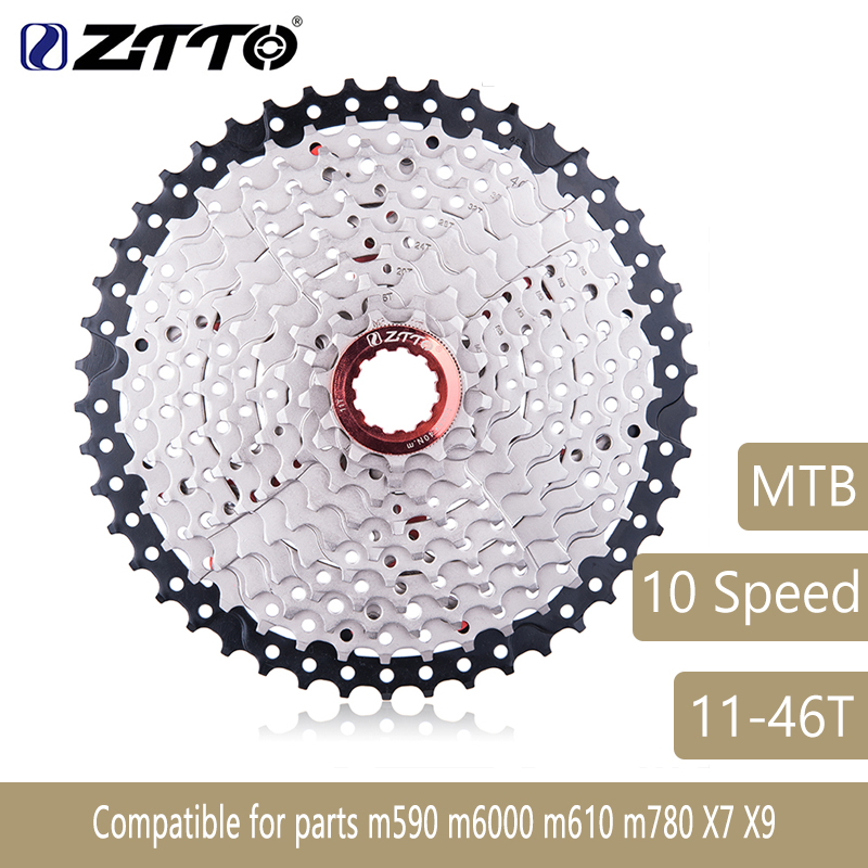 10 Speed 46T 10s 46t Wide Ratio MTB Mountain Bike Bicycle Cassette Sprockets for parts m590 m6000 m610 m780 X7 X9 ZTTO 550g ztto mountain bike mtb 10 speed cassette 11 46t bicycle freewheel sprockets bike parts for shimano m590 m6000 m610 m780 x7 x9