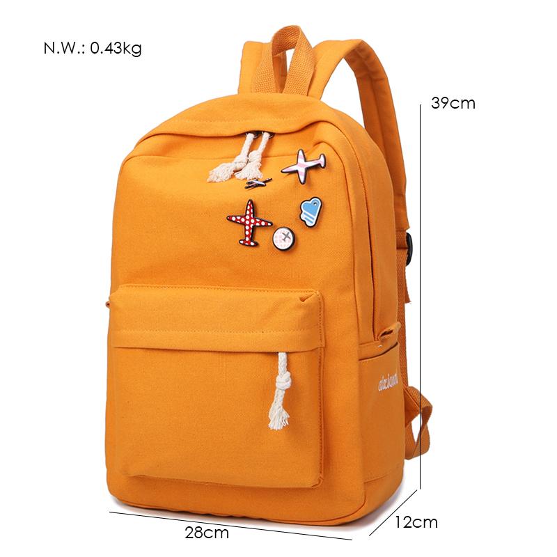 Menghuo 5 Pcsset Women Backpacks Cute Plane Badge School Bags For Teenage Girls Simple Canvas Backpacks Ladies Shoulder Bags (5)
