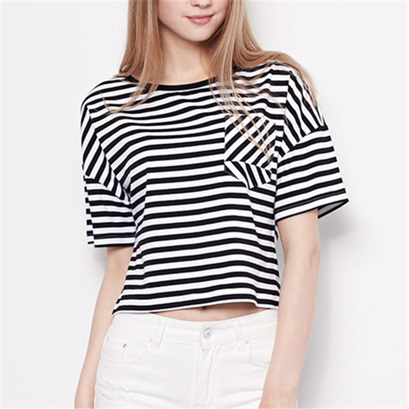 Women Summer Blouse Shirt 2018 Vintage Short Sleeve Black White Stripe Splice Shirt Casual Round Neck Loose Ladies Top Shirt