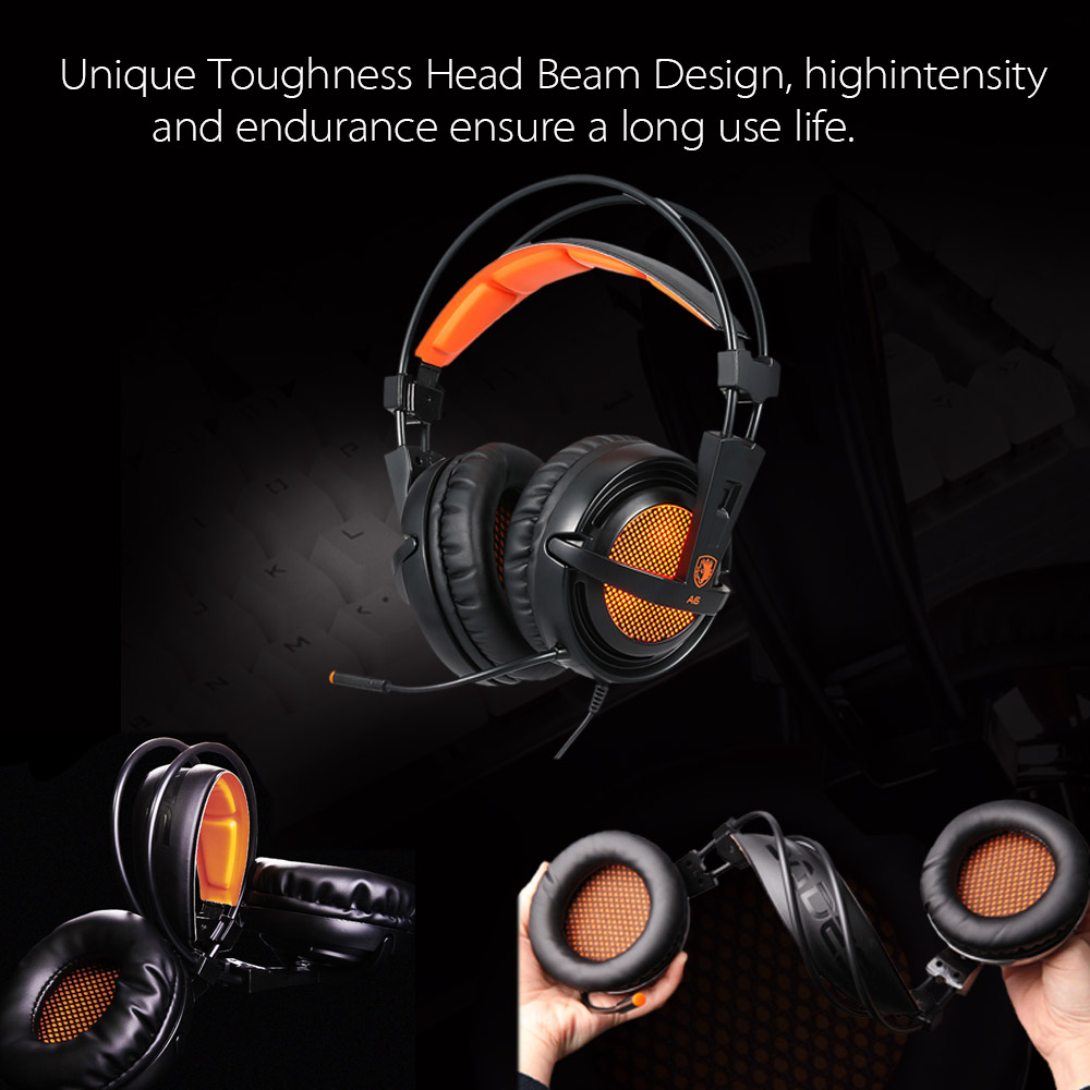 SADES A6 USB 7.1 Stereo wired gaming headphones game headset over ear with mic Voice control for laptop computer gamer 7