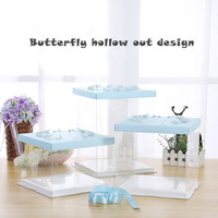 5 Pcs Hollow Out Butterfly Birthday Party Cake Box 4 16 Inches Big Size Toy Doll Gift Box Simple Lucency PET Security Material