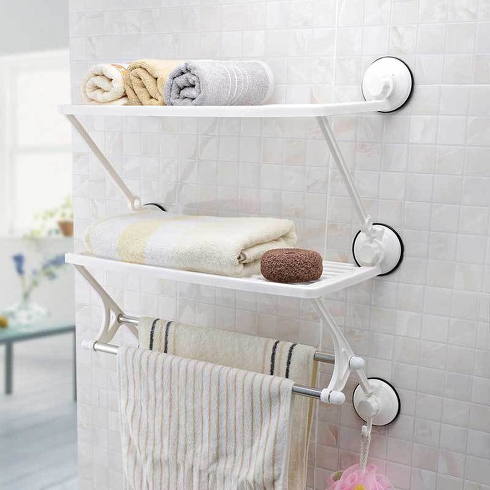 Creative two layer double suction cup towel rack kitchen bathroom towel hanger storage shelf with hook