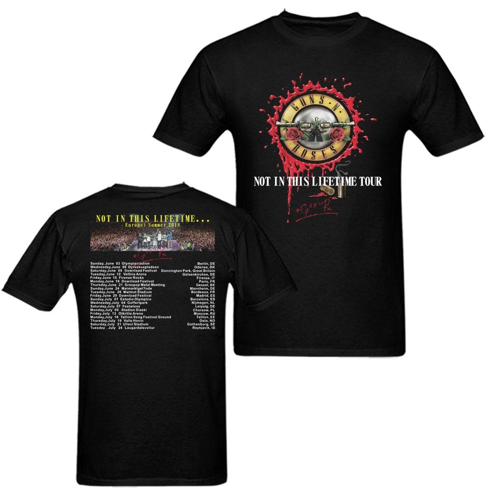 2018 Пистолеты N Roses не в этой жизни концертный тур футболка Для мужчин Для женщин европейские летние XS-3XL рок с круглым вырезом короткий рукав ... ...