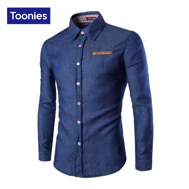 Primavera 2016 Nuevos Hombres del Dril de Algodón de Manga Larga Blusa Casual Shirts Hombres Moda Delgado Solo Pecho Camisa Superior Ocasional de Moda blusa