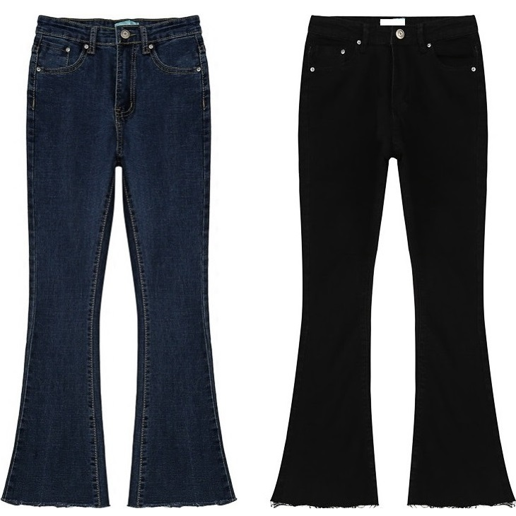 Women Jeans 2017 New Womens Slim High Waist Flare Denim Pants Ladies Raw Cut Skinny Jean Trousers Female Casual Black Blue Jeans аюрведическое мыло медовый коктейль indibird