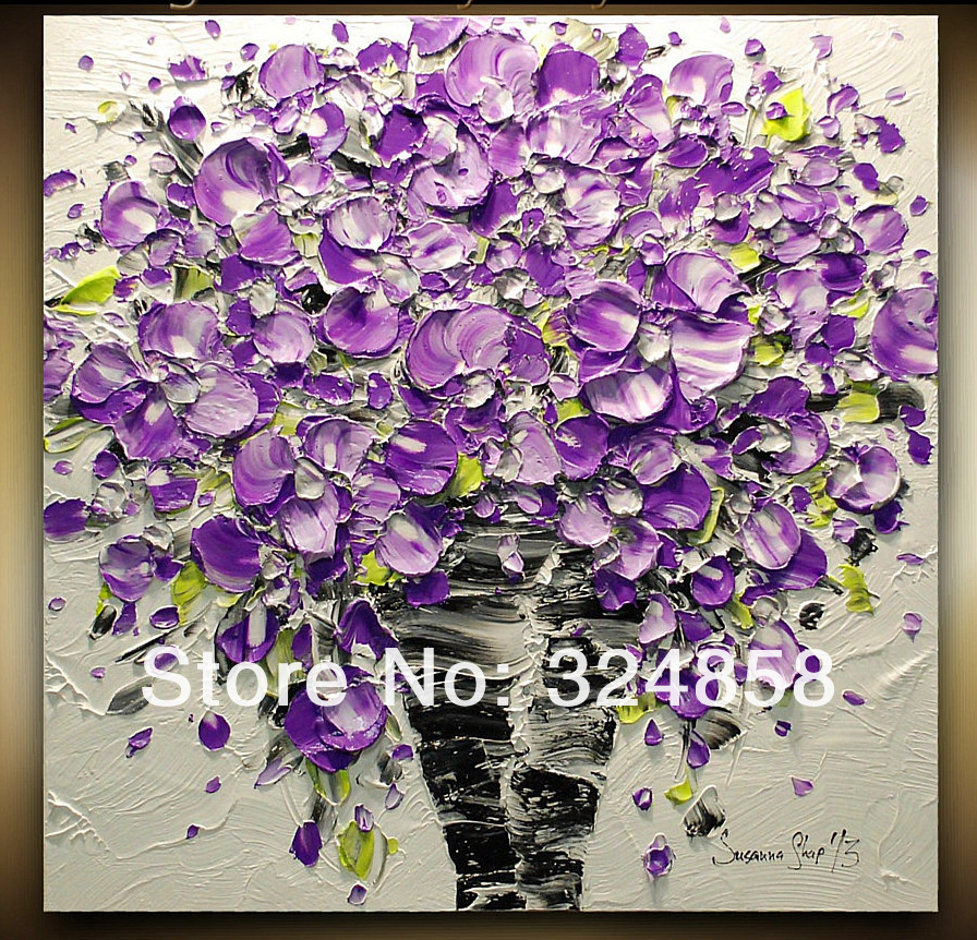 Handmade Wall Painting Abstract Purple Flowers Modern Palette Knife ...