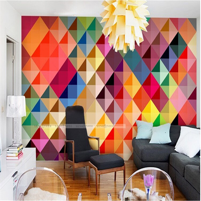 Beibehang Custom Large Photo Wallpaper For Living Room Sofa Bedroom TV Setting Wall Modern Art Wall Paper Color Grid Mural Wall