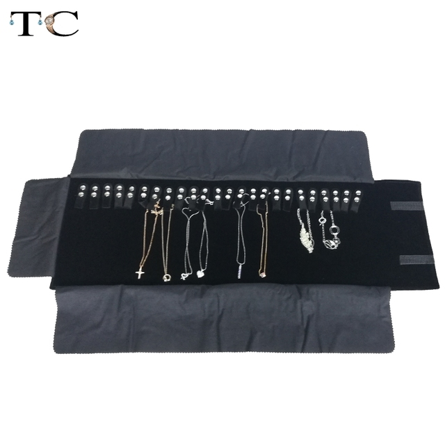 Newest Black Velvet Jewelry Roll Organizer Bag Travel Necklace