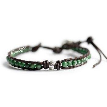 7c0b6409433c Lotus mann verde amazon piedra cuentas de plata decoración-Círculo de cordón  de cuero pulsera