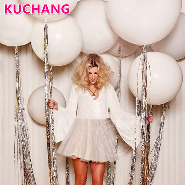 1pc 36inch White Round Latex Balloons Silver Foil Fringe Rain Curtains Red Heart Confetti Balloons Rose Gold Tassel Party Decor