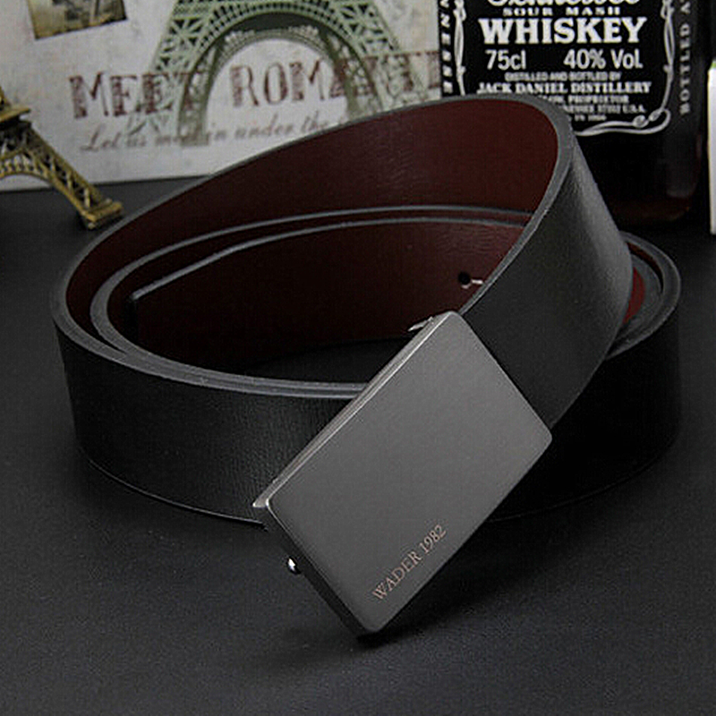 2018 men's genuine leather belt male cowskin belt formal suit trousers belt cowhide smooth buckle metal starp gift for men belts