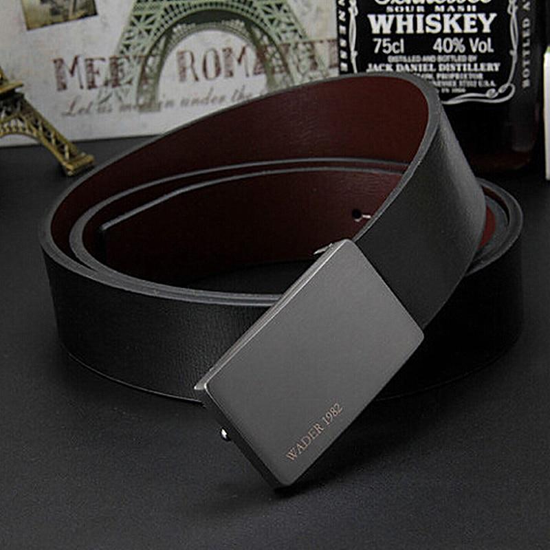 2019 men's genuine leather   belt   male cowskin   belt   formal suit trousers   belt   cowhide smooth buckle metal starp gift for men   belts