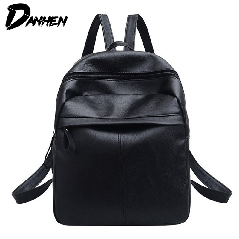 2161a25a10 DANHEN Fashion High Quality PU Leather Women Backpack Solid School Bags For  Teenager Girls Casual Women