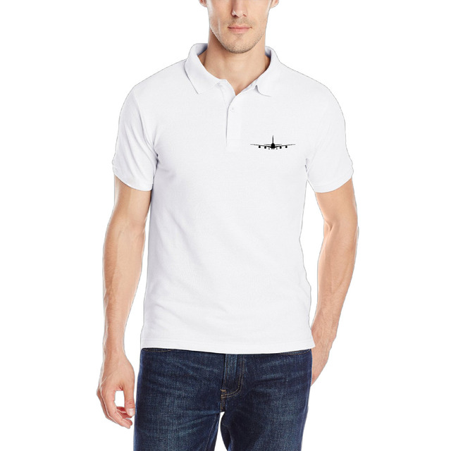 Airplane Mens Short Sleeve Polo Shirt Customized Classic Shirt For
