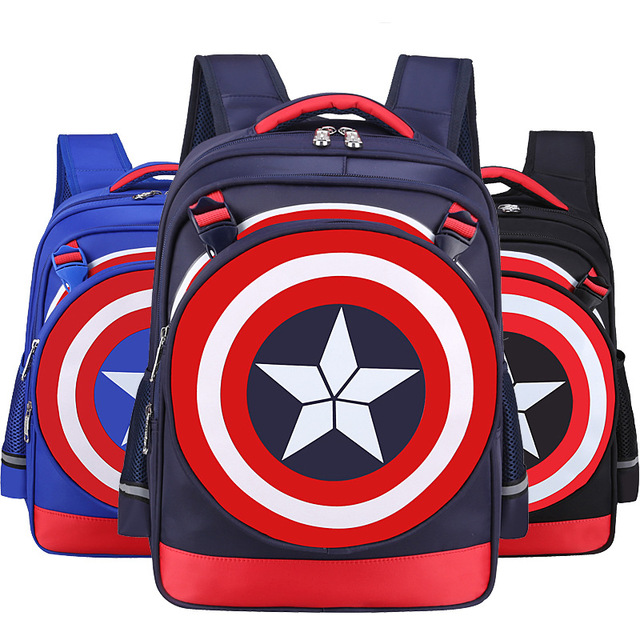 b5f23f737901 New Captain America 3 Primary Schoolbags Marvel The Avengers Children s  Shield Backpack The Small Bag Can Be Removed