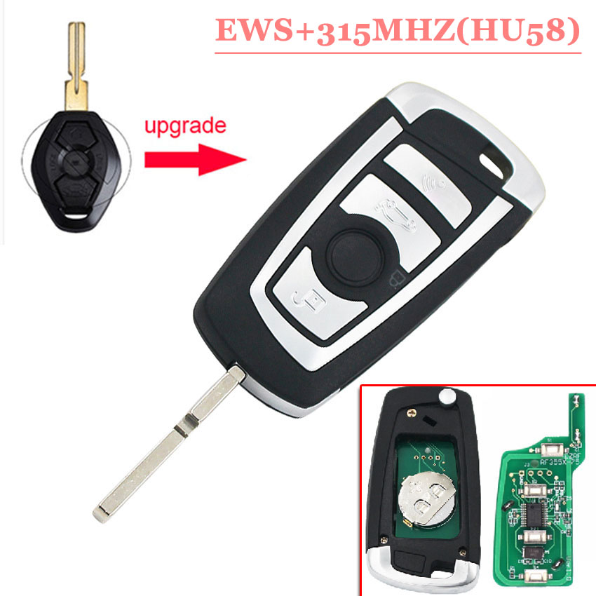 Free shipping (1piece) Remodling HU58 Flip Remote key 315MHZ With PCf 7935 chip for BW EWS with good quality цена