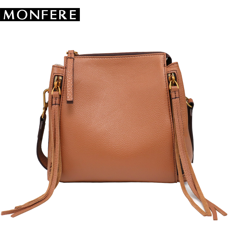 MONF Genuine Leather Bag Famous Brands Women Messenger bags Tassel Handbags Designer High Quality Zipper Shoulder Crossbody Bag vintage women bag high quality crossbody bags luxury designer large messenger bags famous brands female shoulder bag tassen flap
