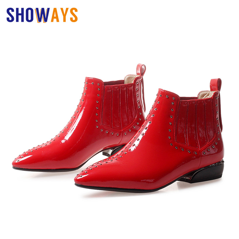 British Women Rivet Plush Chelsea Boots Patent Leather Pointed Toe Square Heel Retro Winter Casual Lady