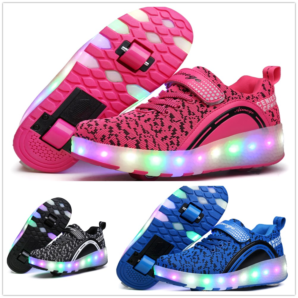 ④Heelys LED Light Sneakers with Double TWO Wheel Boy Girl Roller ...