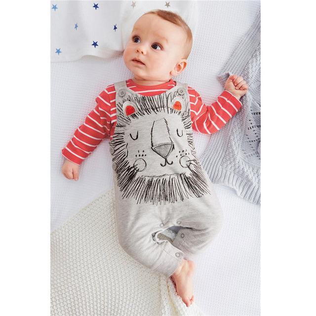 Recién nacido ropa bebé lindo bebé de dibujos animados Boy Set Red correas de la camiseta y el bebé trajes de marca moda bebé Meisjes Kleding