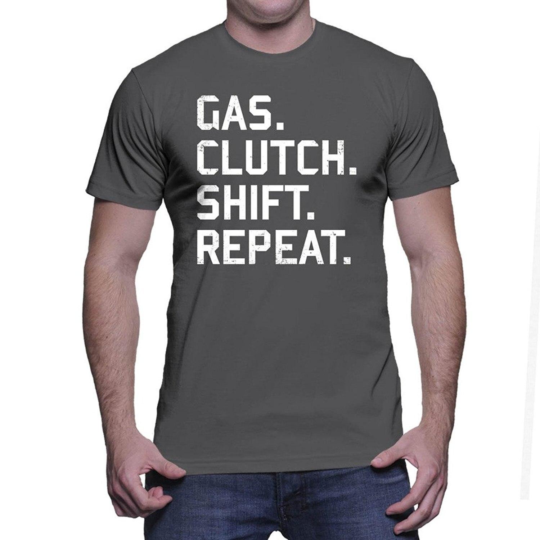 Men Short Sleeve Print Casual Print T Shirt For Men 2017Mens Gas Clutch Shift Repeat Funny Design Creative T-shirt