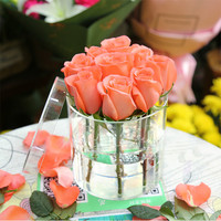Transparent Acrylic Round Rose Flower Box Florist Gift Box with Lid Birthday Anniversary Bouquet Wrapping Box Wedding DIY Decor