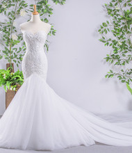100% Real Picture Beading Pearls Appliques Body Lace Organza More Layers Tulle Skirt Mermaid Wedding Dresses Mariage