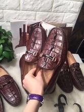 2018 натуральная крокодил хвост сзади кожи мужская деловая обувь для отдыха прочная твердая наивысшего качества крокодиловой кожи мужская обувь