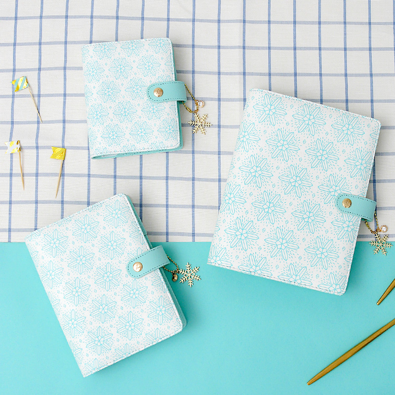 Lovedoki Sweet Snowflake A5A6A7 Planner Mint White Notebook Zipper Hasp Organizer Diary Monthly Weekly Agenda Gifts Wholesale mint planner