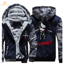 HAMPSON LANQE Heath Ledger Batman 2 Joker Print Zipper Hooded Men 2019 Winter Warm Fleece Hip Hop Sweatshirts Hoodies Mens Coat