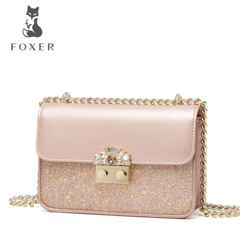 FOXER luxury fashion chain bag female 2018 new rhinestones star package Europe and the United States summer shoulder bag lock bu europe and the united states classic sheepskin checkered chain tide package leather handbags fashion casual shoulder messenger b