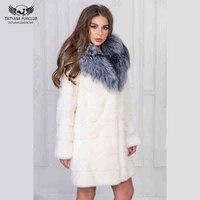 Real Fur Coat Natural Mink Fur Slim Women Long Coat With Sliver Fox Fur Collar White Fur Jacket Lady Dress Winter Outwear