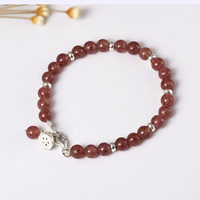 Natural Strawberry Quartz Bead Bracelet For Women With Sterling Silver 925 Seedpod of Lotus Charm Natural Pink Stone Bracelet