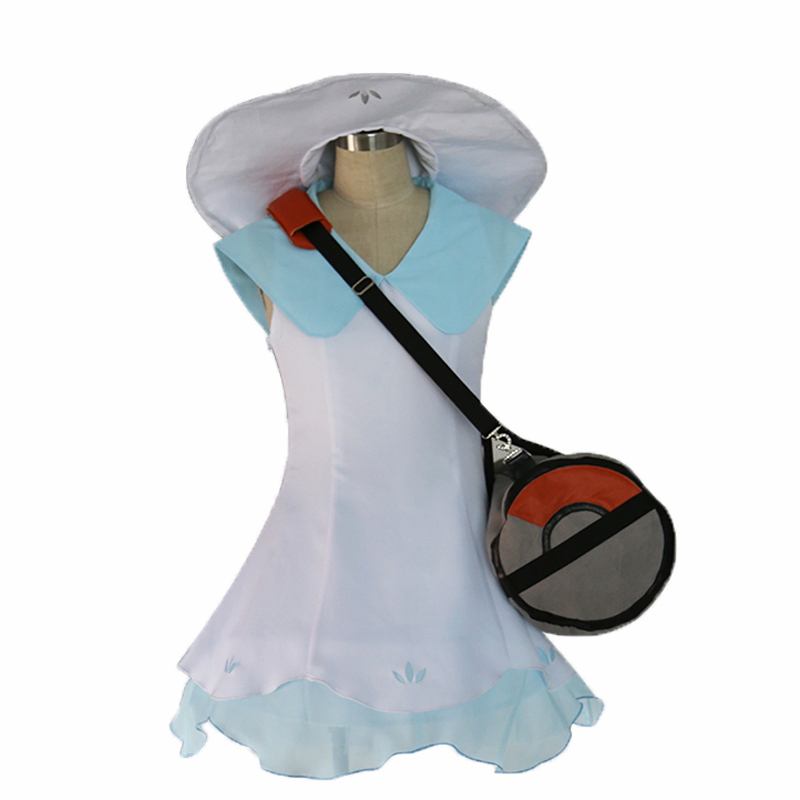 Pokemon sun moon Pocket Monsters Lillie Cosplay Dress with hat and bag cosplay costume image