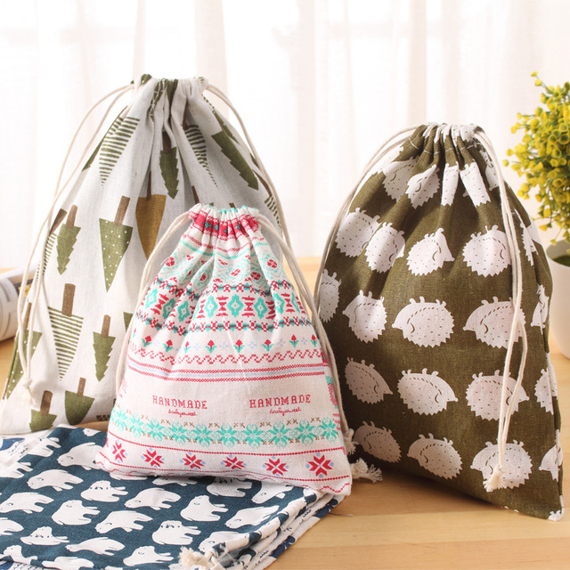 3 Size Zakka New Fresh Fabric Cotton Travel Drawstring Tote Storage Bag Organizer Bag For Underwear Toy Storage Bag