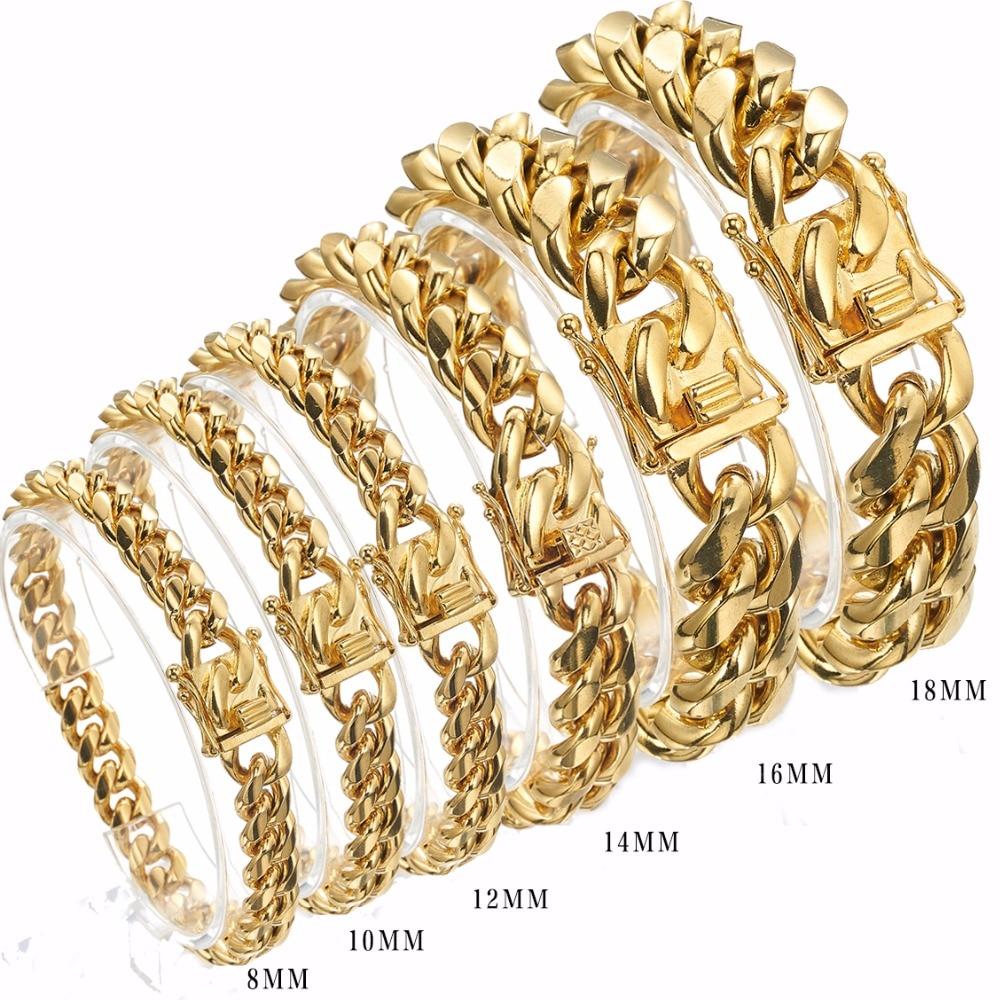 Браслет из нержавеющей стали 316, браслет золотого цвета из нержавеющей стали 8/10/12/14/16/18 мм, браслет для мужчин