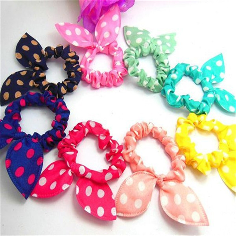 10 pcs/Set Fashion Womens Rabbit Ears Headband Hair Band Polka Dot Hair Rope Accessories For Girls Mix-send JE308
