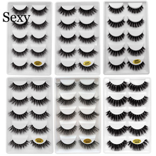 Sexy 5 Pairs mink eyelashes natural long 3d mink lashes hand made false eyelashes 3d lashes eyelash for makeup maquiagem G800