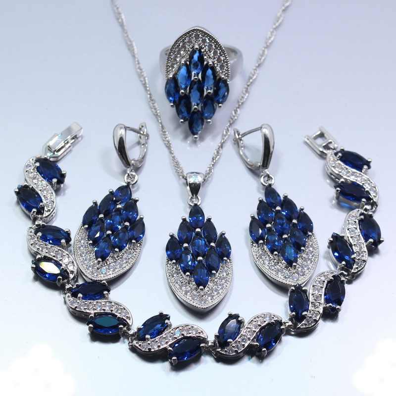 Occident Blue Zircon White Zircon Four Piece Women Jewelry Set 925 Sterling Silver Ring Size 6/7/8/9/10 Free Gift Z134