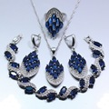 Occident Blue Created Sapphire White Zircon Four Piece Women Jewelry Set 925 Sterling Silver Ring Size 6/7/8/9/10 Free Gift Z134
