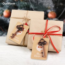 OurWarm 10/50Pcs Santa Magic Key with Kraft Paper Tags Christmas Tree Hanging Ornament New Year Gift Merry Decorations