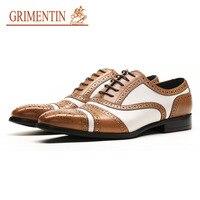 Gri Для мужчин Олово Для мужчин платье Ботинки броги Британский стиль Высокое качество модные кожаные официальные туфли в деловом стиле на ш