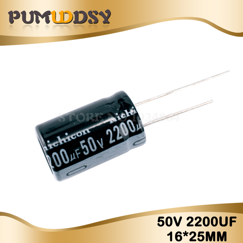 10PCS Higt Quality 50V2200UF 16*25mm 2200UF 50V Electrolytic Capacitor