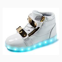 New LED shoes colorful USB interface charging sneakers children shoes boys girls metal buckle casual shoes lighted shoes CS 193