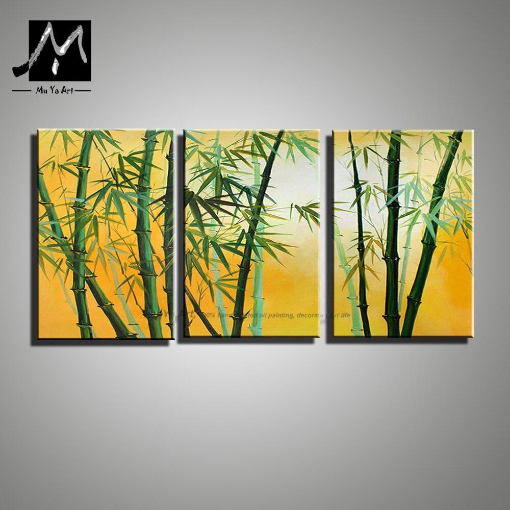3 piece modern canvas wall art handmade picture green bamboo ...
