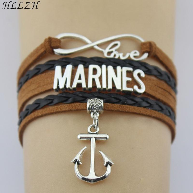 Infinity Love Marines Bracelets Double Long Tassel Handmade Leather Weave Bangles For Women Men Jewelry Custom
